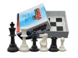 Traditional Deluxe Chess Set, 34 Triple-Weighted Chess Pieces (2 Extra Queens) & Black Folding Chess Board