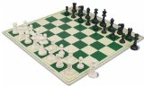 ClubTourney Black & Ivory Chess Pieces with Board - Green