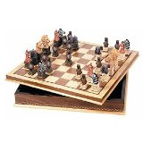 Wood Inlaid Chessboard with Storage
