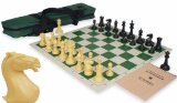 Crown Tournament Chess Kit Set Black & Camel - Green