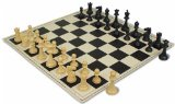 ClubTourney Black & Camel Chess Pieces with Board - Black