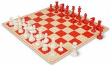ClubTourney Red & Ivory Chess Pieces with Board - Red