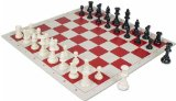 Value Club Pieces & Vinyl Rollup Chess Board - Red