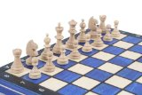Wooden Magnetic Travel Chess Set with Blue Chess Board and Storage Compartment