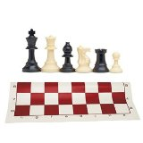 Best Value Tournament Chess Set - 90% Plastic Filled Chess Pieces and Red Roll-Up Vinyl Chess Board