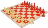 ClubTourney Red & Camel Chess Pieces with Board - Red