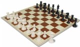 ClubTourney Black & Ivory Chess Pieces with Board - Brown