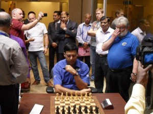 Vishy Anand started by testing the selection of chairs