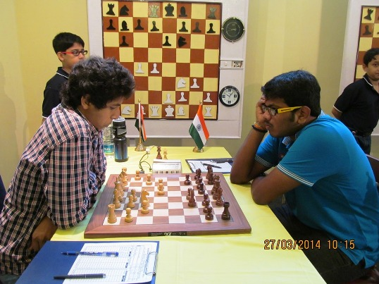 Lalith Babu (right) dashed the title hopes of Vidit Gujrathi